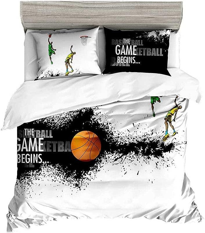 Beddingwish Basketball Playing Games Pattern Bedding Set 3D Microfiber Table Tennis Sports Bed Set Men Teens Boys Full Queen Size