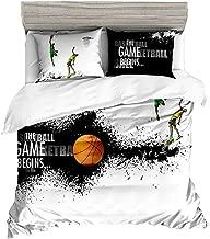 Beddingwish Basketball Playing Games Pattern Bedding Set,3D Microfiber Table Tennis Sports Bed Set Men Teens Boys, Full/Queen Size