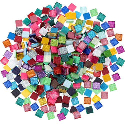 400 Piezas/ 300 g de Azulejo de Mosaico de Colores Variados Mosaico de Cristal Brillante Decoración de Hogar para Manualidades, Cuadrado, 1 por 1 cm