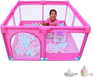 Babies Playpen Children s Play Fence Kids Protective Fence Secure Railing Colored Ball Strong Durable Deluxe Anti-Fall Non-Toxic Kids Activity Center Indoor for 0-3 Ages Pink