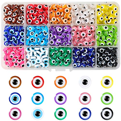 ONEST 750 Pieces Evil Eye Beads DIY Crafts Evil Eye Charms with Storage Box for DIY Jewelry Bracelet Earring Necklace Craft Making, 15 Colors
