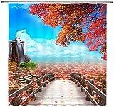 N\A Cortina de Ducha de árbol de Arce Decoración Puente de Madera Hojas de Arce Rueda hidráulica Cortina de baño Tela de poliéster Lavable a máquina con 12 Ganchos
