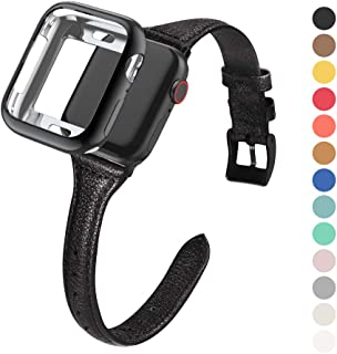 MARGE PLUS Compatible Apple Watch Band with Case 38mm 40mm Women, Slim Genuine Leather Watch Strap with Soft TPU Protective Case Replacement for iWatch Series 4 3 2 1, Black