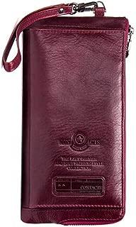 Men's Wallet Leather RFID Blocking Card Holder Zipper Long Bifold Wallet XFGBTJKYA (Color : Purple, Size : S)