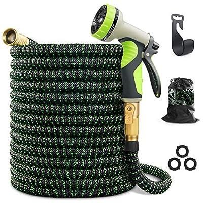"VIENECI 100ft Garden Hose Expandable Hose, Durable Flexible Water Hose, 9 Function Spray Hose Nozzle, 3/4"" Solid Brass Connectors, Extra Strength Fabric, Lightweight Expanding Hose"