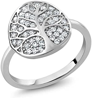 925 Sterling Silver Gorgeous White Tree Of Life Women Ring Set with Zirconia from Swarovski (Available in size 5, 6, 7, 8, 9)