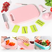 WEIEN Cutting Boards for Kitchen -9 In1 Multifunctional Plastic Cutting Board with Mandoline Vegetable Slicer Cutter Set and 2 Knifes & collapsible colander for Kitchen/Outdoor