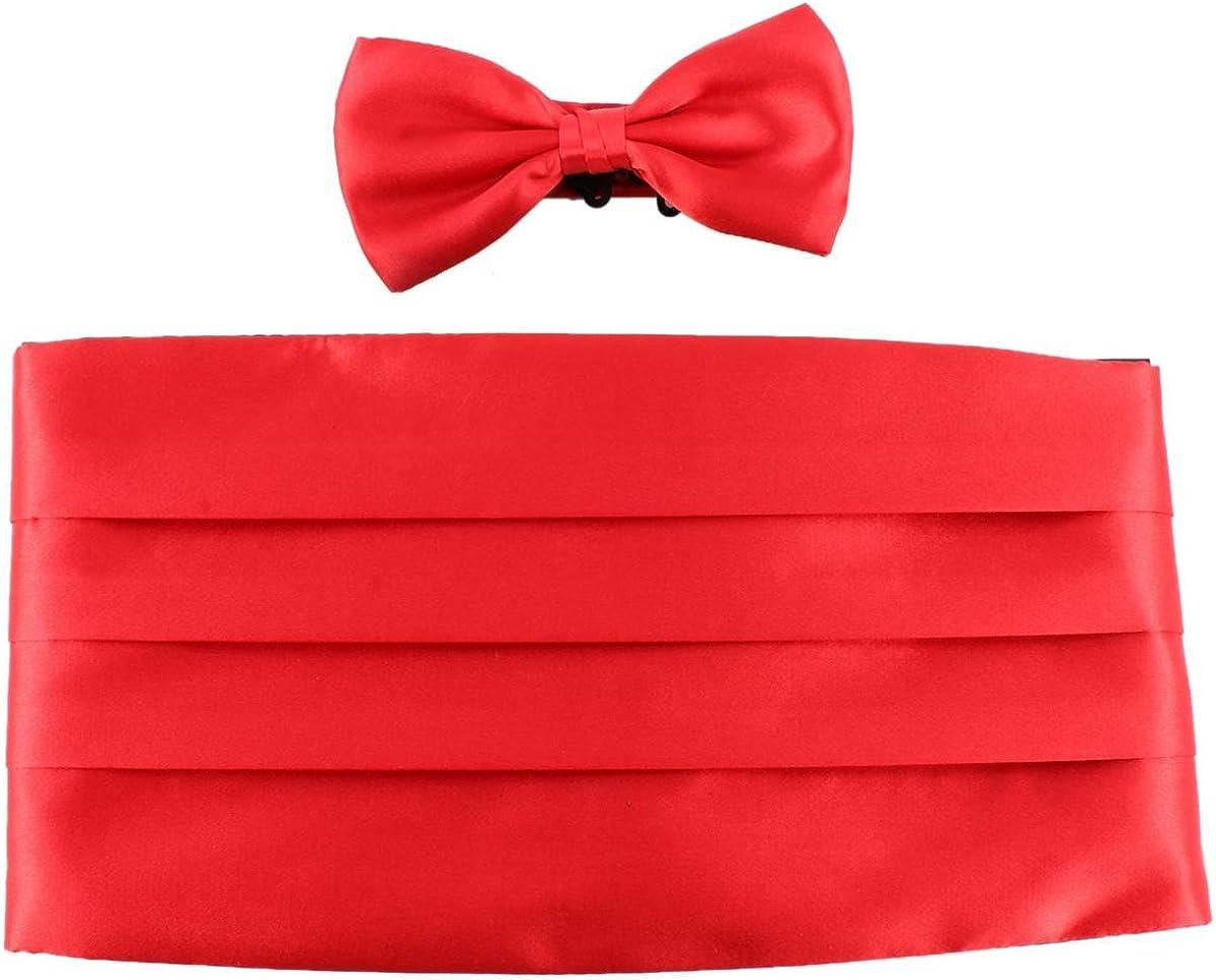 Knightsbridge Neckwear Mens Bow Tie and Cummerbund Set - Red