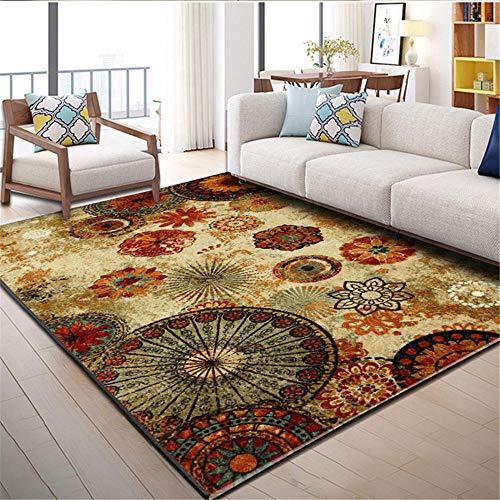 Alfombra alfombras Pasillo Marrón Amarillo Retro Alfombra de Agua Lavado fácil Limpieza Sala de Estar decoración de habitación Alfombra Salon 120*160cm