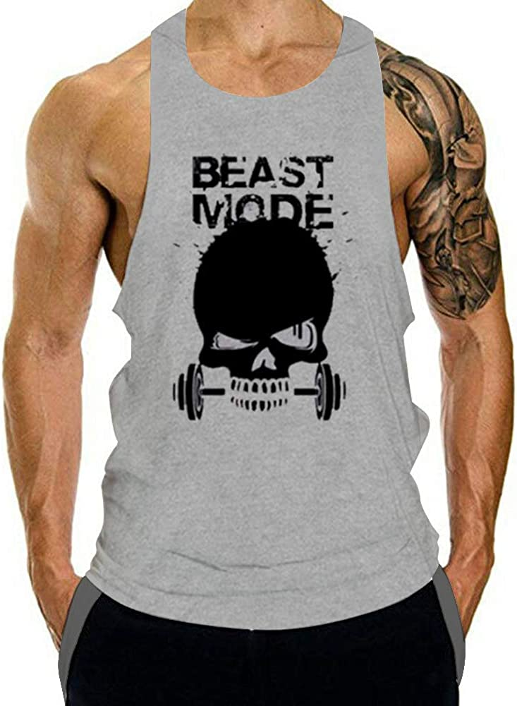 GZXISI Mens Skull Print Stringer Tank Tops Slee Free Shipping Cheap 70% OFF Outlet Bargain Gift Gym Bodybuilding