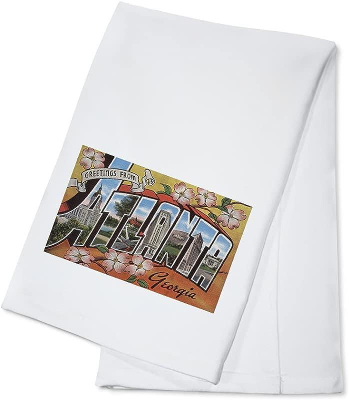 Greetings From Atlanta Georgia Blossoms Vintage Halftone 100 Cotton Kitchen Towel