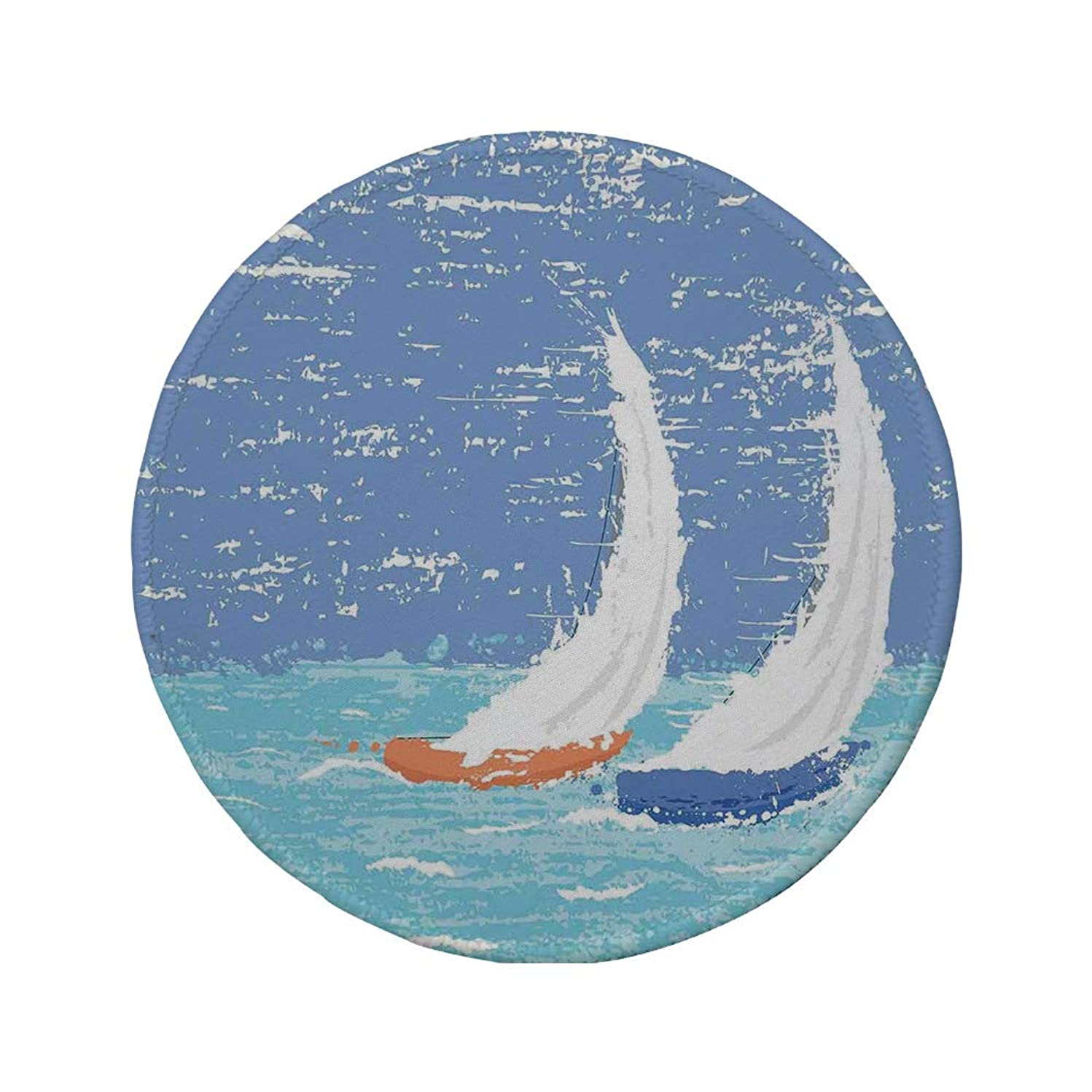 Non-Slip Rubber Round Mouse Pad,Sailboat Nautical Decor,Grunge Style Illustration of Two Racing Sailboats in A Windy Ocean Water Print,Light Blue,7.87