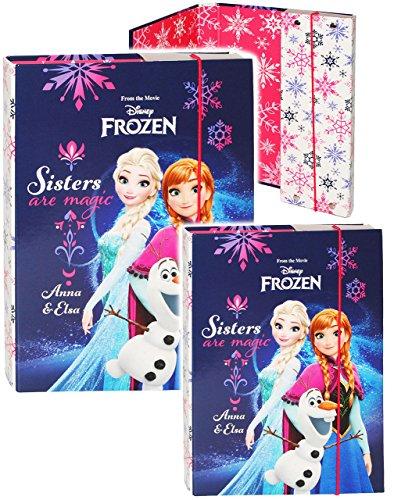 alles-meine.de GmbH 2 TLG. Set _ Heftordner / Ordner / Heftbox - A4 + A5 -  Disney Frozen - die Eiskönigin  - für Hefte, Zettel und Mappen - Glanz Druck - Gummizugmappe & Heftm..