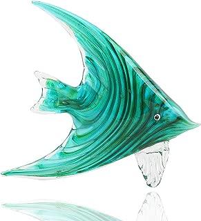 Hophen Art Glass Tropical Angel Swallow Fish Blown Handmade Sea Animal Figurine Sculpture Home Decor Collectible Statue Paper Weight Gift Ornament (Green)