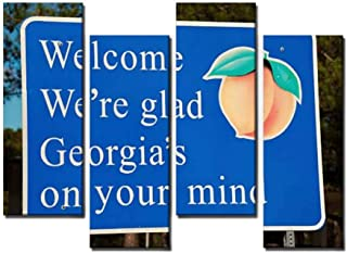 4 Panel Welcome to Georgia atlantas and Pictures Canvas Wall Art Ocean Oil Painting Animal Prints City Poster Flower Pictures Home Wall Decoration for Artwork
