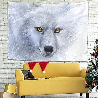Facbalaign Tapiz de pared con ojos dorados, fácil división de espacios, para salón, dormitorio, color blanco, 150 x 150 cm