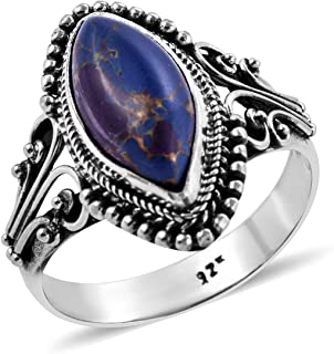 Solitaire Ring 925 Sterling Silver Marquise Purple Turquoise Boho Handmade Jewelry for Women