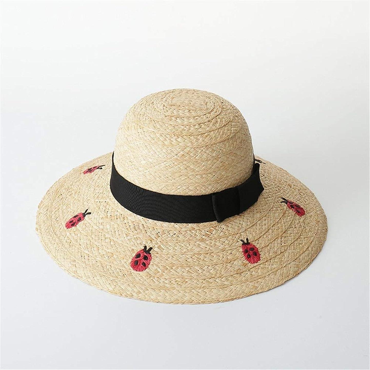 正確なフラグラント嫌悪手刺繍てんとう虫手紙ラフィット大きな帽子手作り刺繍弓ビーチ日焼け止め麦わら帽子