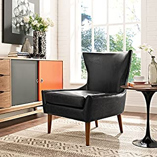 Modway Keen Upholstered Vinyl Armchair in Black
