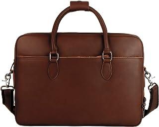 Leathario Herren Aktentasche Leder Laptoptasche 14 Zoll aus Echtleder Ledertasche Große Schultertasche mit Multi-Fach Bürotasche Businesstasche Umhängetaschen Braun