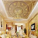 WDFXY Seidentuch Benutzerdefinierte Fototapete Tapete 3D Stereo Relief Europäischen Klassischen Luxuriösen Deckenfresko Wohnzimmer Hotel Lobby Deckengemälde@220 cm (B) x 140 cm (H) (7'3'x 4'7') ft