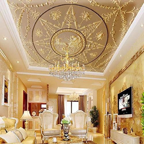 WDFXY Seidentuch Benutzerdefinierte Fototapete Tapete 3D Stereo Relief Europäischen Klassischen Luxuriösen Deckenfresko Wohnzimmer Hotel Lobby Deckengemälde@220 cm (B) x 140 cm (H) (7'3