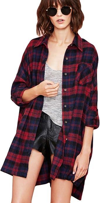 Romacci Mujer Camisa a Cuadros Blusa Algodón de Manga Larga Casual Camisetas Tartan Shirt Tshirt para Mujer, S-5XL