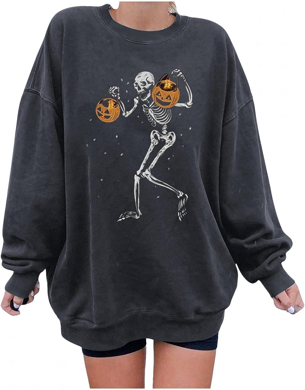 Aayomet Hoodies for Women Pullover Halloween Long Sleeve Funny Pumpkin Skull Print Sweatshirts Casual Sweaters Tops Shirts