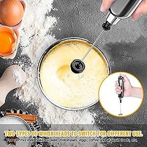 CAVN Elektrischer Milchaufschäumer mit Doppeltem Quirl, USB Aufladbar, 2 in 1 Handheld Batteriebetriebene Milchaufschäumer Handmixer Milk Frother Milchschaum Eiermixer für Kaffee,Latte