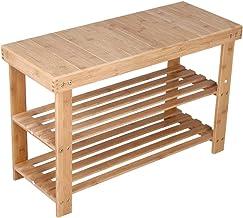 KKTONER Bamboo Shoe Rack Bench 3 Tier Entryway Seat Shoe Organizer Storage Shelf Natural Color