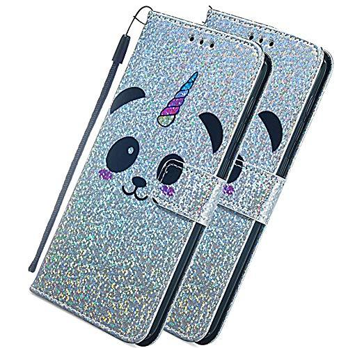 COTDINFOR iPhone 11 Pro(5.8 Inch Funda Glitter Cute Flash Chip Sparkle Bling Caso Titular Magnético Cierre de la Tarjeta Protectora Carcasa para iPhone 11 Pro 2019 Panda Face YB.
