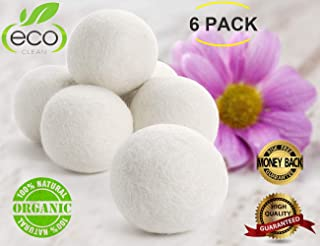 Wool Dryer Balls, Natural Fabric Softener 6 XL Pack Laundry Dryer Balls Resuable Wool Dryer Balls Organic Wool Dryer Sheets Clothes Dryer Balls Anti Static,Reduce Clothing Wrinkles and Saving Energy