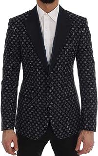 Dolce & Gabbana Blue Baroque Silk Wool Blazer