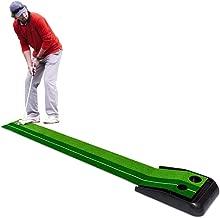 Tangkula Golf Putting Mat 8 FT Indoor Outdoor Golf Practice Mat Green Grass Turf Ball Return Golf Training Equipment