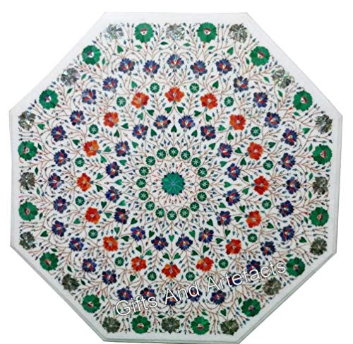 Gifts And Artefacts 48 Inches Octagon Shape White Inlay Table Top Marble Dinning Table Top Elegant Design with Multi Gemstones