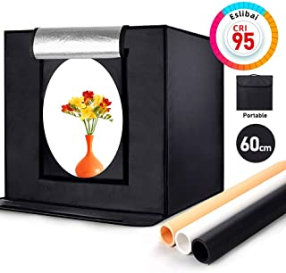 Eslibai Photo Box, Photo Light Box 24x24x24 Inches/60x60x60cm Professional Light Box 126 LED Light Photo Studio Shooting Tent with 3 Background Papers for Product Photography