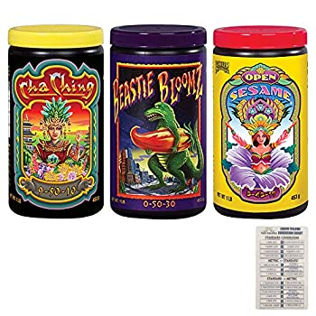 Foxfarm Soluble Nutrient Trio  Open Sesame Cha Ching & Beastie Bloomz  Pack of 3-1 lb Jars  + Twin Canaries Chart