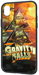 Tempered Glass Back iPhone XR Cases, Soft TPU Accurate Cutouts Durable Bumper, Shockproof Snowproof 360 Protective Case Cover for iPhone XR, Gravity Falls! Amazing Movies Pine Tree Poster
