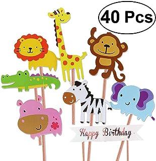 Unique Store 40 Piezas Cupcake Toppers Lindo Selva Temática Animales En Forma de Pastel Toppers para Niños Ducha de Bebé Fiesta de Cumpleaños DIY Decoración Suministros
