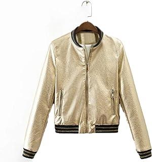 Metal Textured Women Baseball Tops Golden Silver Bright PU Faux Leather Bomber Jacket Windbreaker Outerwear