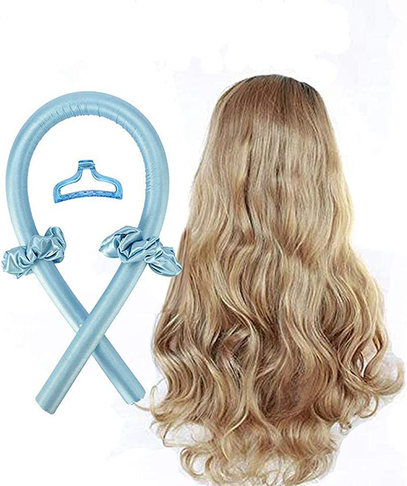 Heatless Curling Rod Headband, Lazy Curler Set No Heat Silk Curls Headband You Can To Sleep In Overnight, Soft Foam Hair Rollers, Curling Ribbon and Flexi Rods for Natural Hair (Blue band clip)