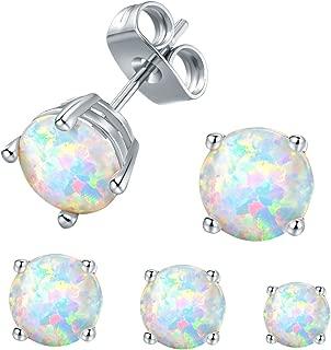 VOLUKA Opal Stud Earrings 18K White Gold Plated for Womens Sensitive Ears 3 Pairs 3/5/7mm