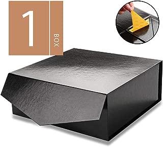MALICPLUS Gift Box with Lid, Square 10x10x4 Inches, Groomsman Proposal Box, Sturdy Box Storage Box Collapsible Magnetic Closure Gift Box (Embossing Glossy Black, 1 Luxury Box)