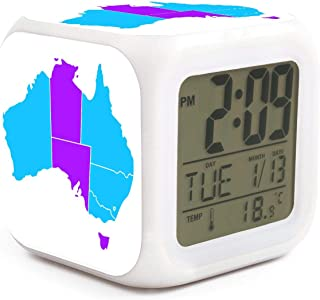 Cute Multifunction Desk Alarm Clock Australia Map Digital Alarm Clock with Nightlight 7 Color Changing Light Bedside Clock for Bedroom.Sleep Timer with Thermometer,Touch Control and Snoozing