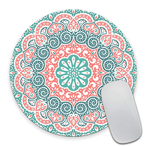 Wasach Mouse Pad Custom Design, Beautiful Floral Mandala Ornament,Personalized Design Non-Slip Rubber Round Mousepad 9.5 X 7.9 Inch (240mmX200mmX3mm)