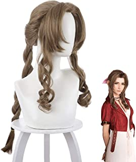 TLSD Aerith Gainsborough Cosplay Wig Anime Final Fantasy 7 Brown Long Curly Wavy Costume Hair with Braids for Women Girls Halloween Party Synthetic Wigs