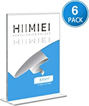HIIMIEI Table Acrylic Sign Holder, 6 Pack 8.5x11 Large Plastic Menu Holders Contertop Display Stand, Clear Double Sided Plexiglass Ad Picture Frames for Market,Hotel,Restaurant