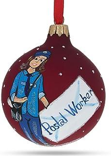 BestPysanky Postal Worker Glass Ball Christmas Ornament