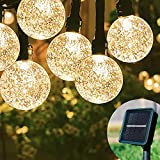 Solar String Lights Outdoor,60 LEDs 40 Ft Crystal Globe Light ,8 Lighting Modes Fairy Lights, Waterproof Solar Powered Patio Lights for Garden Yard Porch Wedding Party Decor (Warm White)