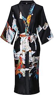 أرواب كيمونو نسائية من DandyChic خفيفة الوزن من الحرير المقلد، ملابس نوم طويلة خفيفة الوزن للنساء